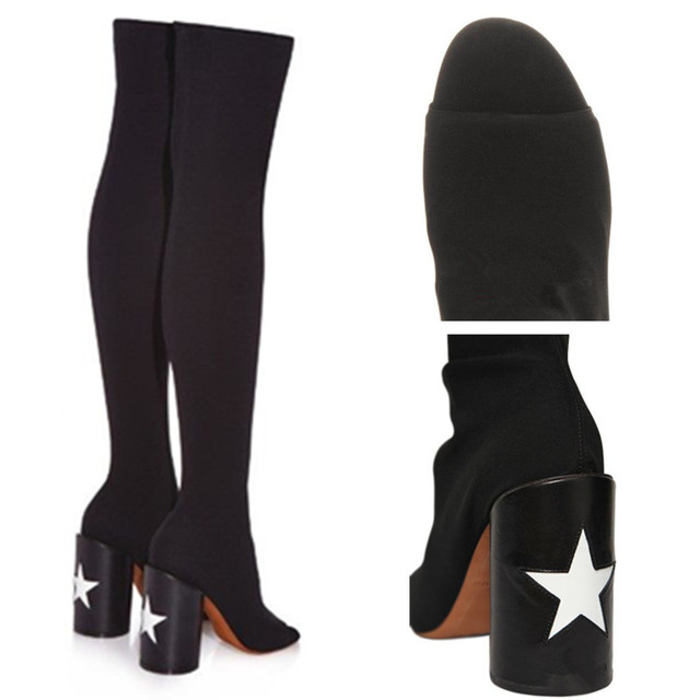 Elastic Black Peep Toe Thigh High Boots Sexy Slim Fit Gladiator Boots White Star Decor High Heel Boots