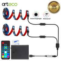 Batterie Betrieben Led-streifen 5050 RGB Wasserdichte Flexible LED Streifen String Licht USB 17 Schlüssel Batterie Betrieben LED Band Band Lichter