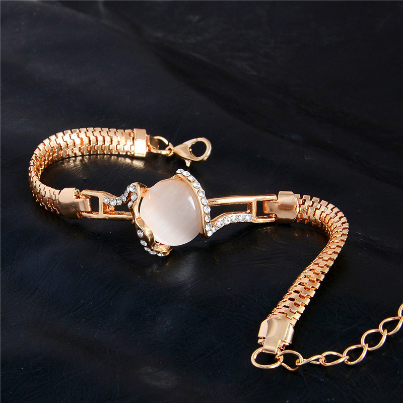 MISANANRYNE  Fashion Jewelry Gold Color Shiny Austrian Crystal Cat Eye Stone New Design Bracelets 7