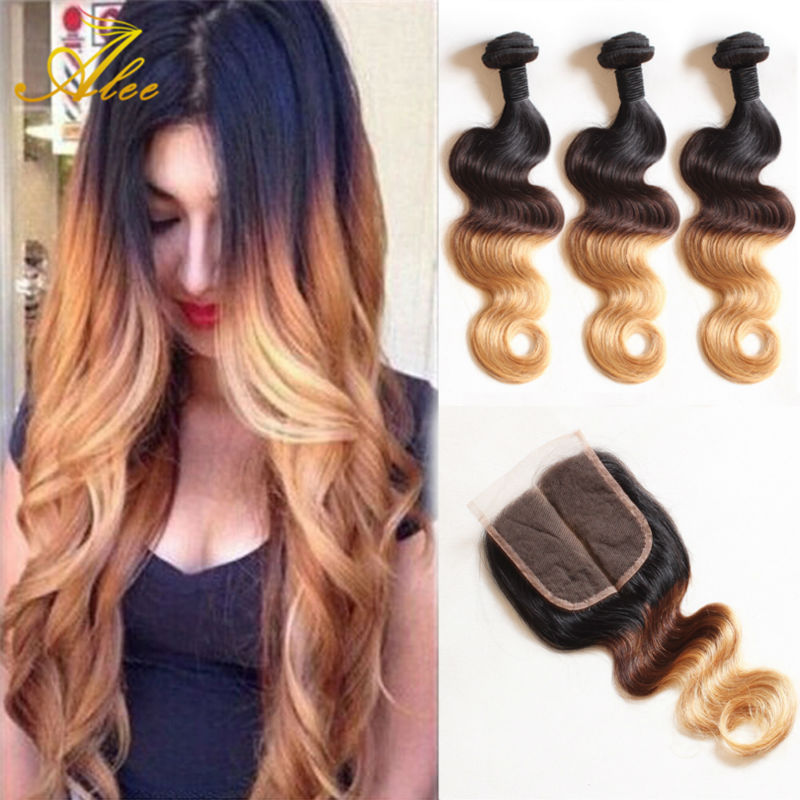Amazing hair company ombre peruvian virgin hair weaves t1b 4 27 rosa hair products with closure - Ombre hair carre ...