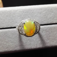 Size 8 Genuine Real Natural Fire Opal Gems Wedding Rings For Women Ladies Charm 925 Sterling Silver Fashion Engagement Ring