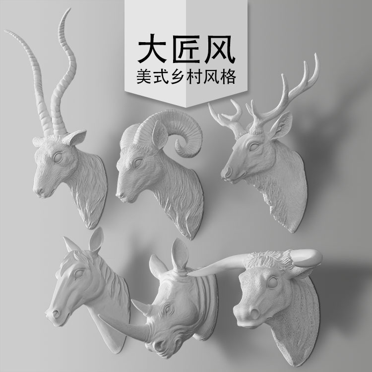 A big wind wall European style of the ancient American living room crafts tocarve sambar deer hunting horse head wallA big wind wall European style of the ancient American living room crafts tocarve sambar deer hunting horse head wall
