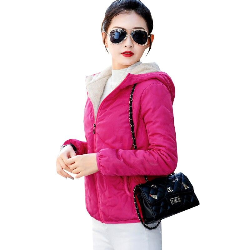 2018 Autumn Winter Women Short Coat Warm Thick Velvet Hooded Cotton Coats   Parka   Female Lamb Coat Wadded Jackets Outwears AB993