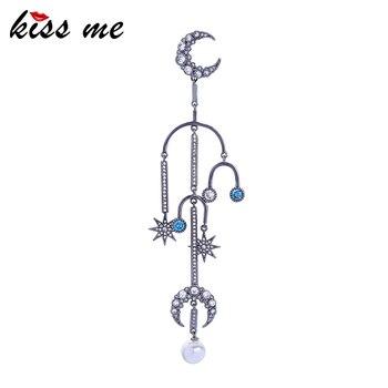 Kiss Me Unilateral Hyperbole Long Unique Zircon Moon Star Drop Earrings For Women Glass Pearl Dangle Earring Fashion Accessories
