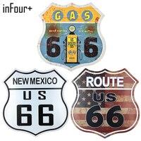 [InFour +] nuovo Scudo 66 Route Segno Segni In Metallo Home Decor Vintage Targhe in metallo Pub Vintage Piatti Decorativi Parete di Arte del Metallo Placche