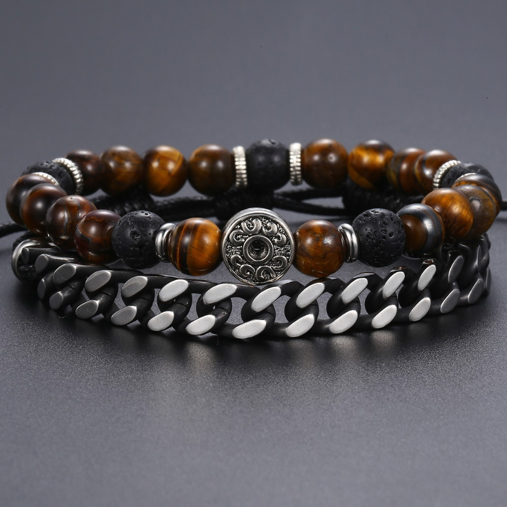 "Unique Natural Tiger Eye Stone Men's Beaded Bracelet Stainless Steel Cuban Link Chain Bracelets Male Gifts Dropshipping 8"" DLB68 1"