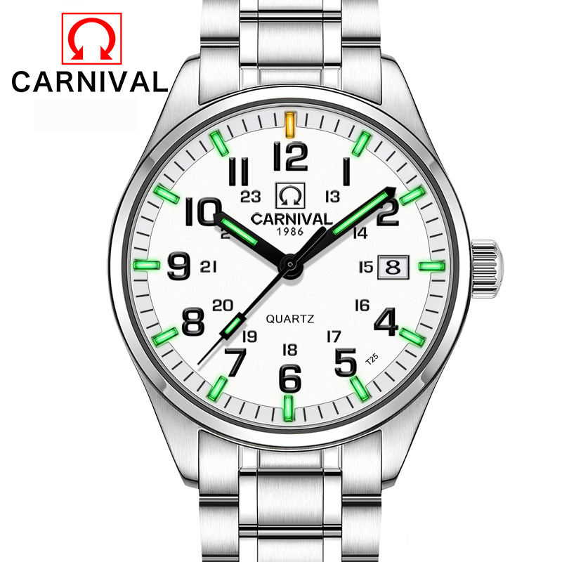 Carnival T25 Tritium Luminous Watch Men Military Mens Watches Top Brand Luxury Quartz Wristwatch Male Clock Relogio Masculino