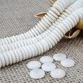 Comercio al por mayor 108 unids 5/6/8/10/12mm Flat Espaciador de Tagua Marfil Blanco Natural perlas Para La Joyería DIY de Los Granos de Rondelle Full Strand