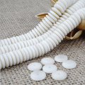Wholesale 108pcs 5/6/8/10/12mm Ivory White Natural Tagua Nut Flat Spacer Beads For Jewelry Making DIY Rondelle Beads Full Strand