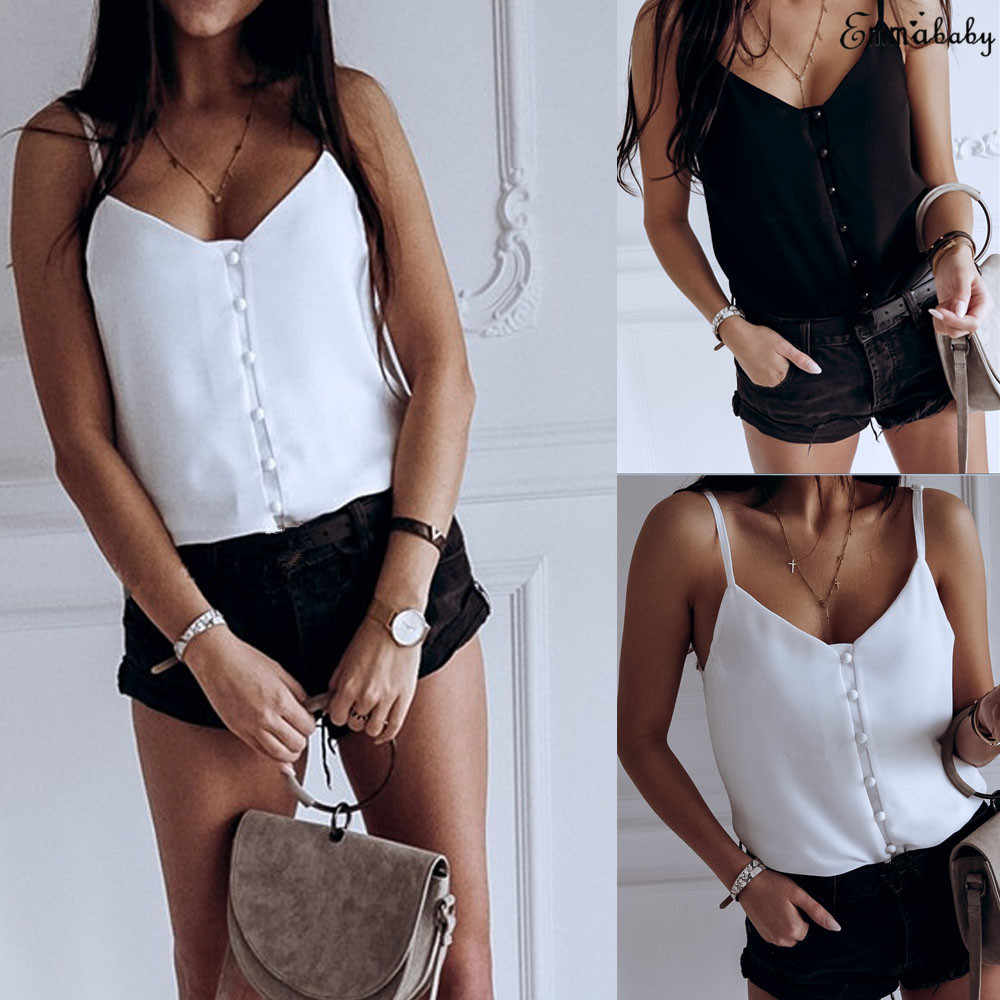 Fashion Women Strappy Vest Sleeveless Loose Solid Camisole V-Neck Top T-Shirt