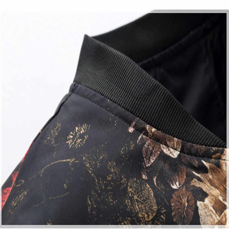2019 весенне-осенняя куртка-бомбер для мужчин с цветочным принтом, Модная приталенная мужская повседневная куртка с длинным рукавом, Мужская ветровка, пальто для мужчин