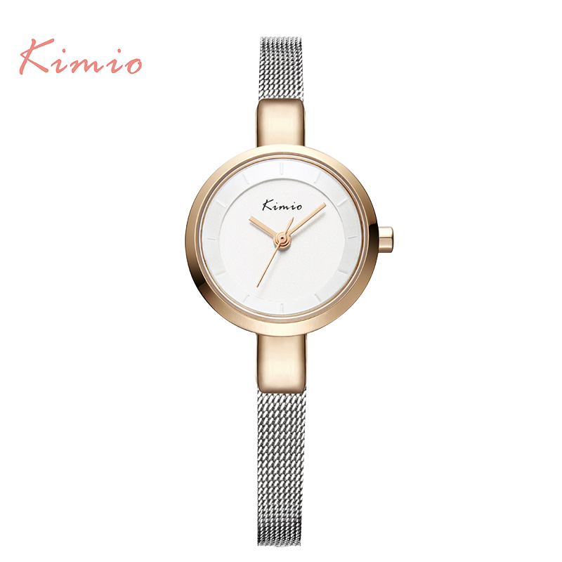 KIMIO Small Round Dial Woven Mesh Band Quartz Women Watch Famous Luxury Brand 2017 Simple Casual Ladies Wrist Watches For Women quartz watch with small diamond dots indicate leather watch band hearts pattern dial for women