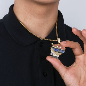 Image 4 - TOPGRILLZ collar con colgante de circonia cúbica para hombre, cadena de zirconia cúbica, abalorios de Color plateado dorado estilo Hip Hop Punk, para fiesta