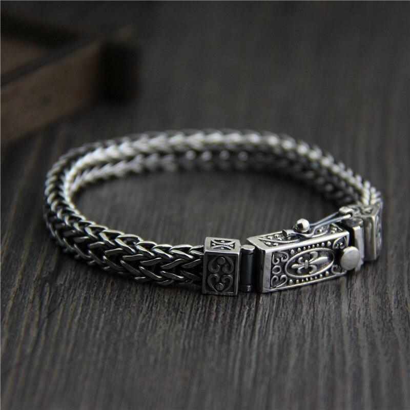 Starfield Silver S925 Sterling Silver Knit Dragon Bone Bracelet Male Models Retro Thai Silver Jewelry