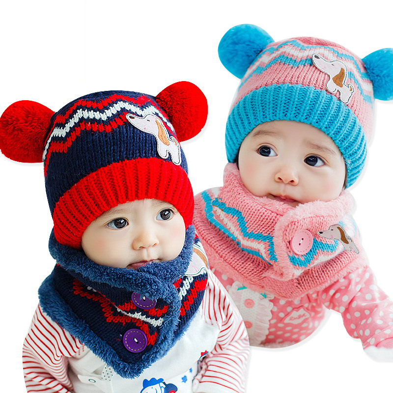 4f7a5833d53 Winter Baby Hat Scarf Set Dog Style Woolen Cap Muffler for Infant Boys  Girls Cute and Warm Kids Children Beanie Knitted Pattern