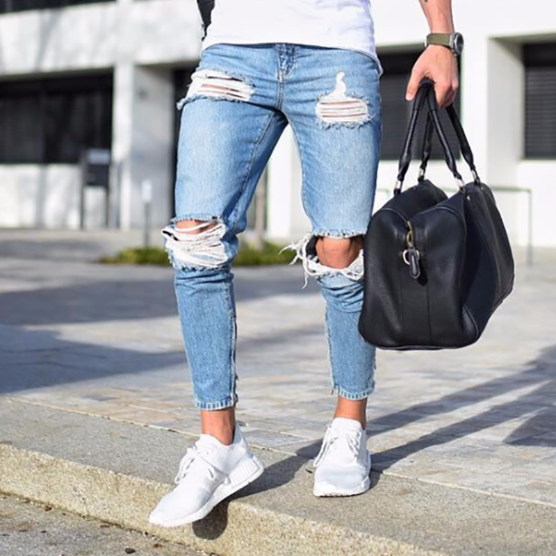 Fashion Streetwear Mens Jeans Stretch Destroyed Ripped Design Fashion Pencil Pants Ankle Zipper Skinny Jeans For Men