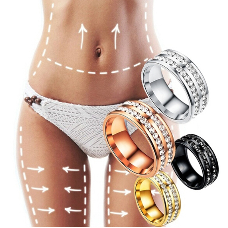 Fully-Jewelled Health Care Finger Ring Healthcare Weight Loss Fat Burning Slimming Magnetic Ring Slimming Product