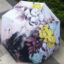 2017 Nouveau Nouveauté Articles Peinture À L'huile Arts Parapluie Creative Falaise Printemps Fleurs Parapluies Anti-UV Décoratif Parapluie Pluie Femmes