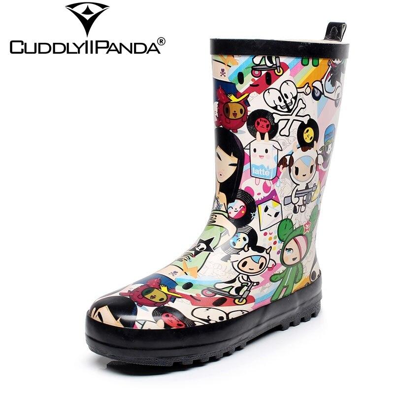 CuddlyIIPanda 2019 été nouvelles bottes de pluie peintes à la main femmes bottes au genou dessin animé genou bottes hautes mignon Kawaii Botas Feminina