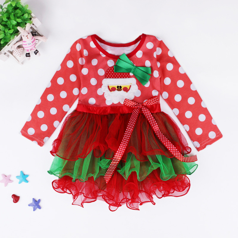 2015 kids girls christmas dress santa claus tutu dress new year baby girl costumes merry christmas winter party clothing in dresses from mother kids on