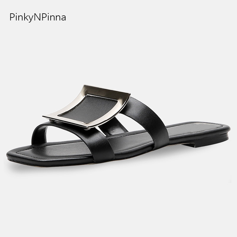 Luxury designer runway women fashion flat slippers cowhide genuine leather shining metal square summer party white