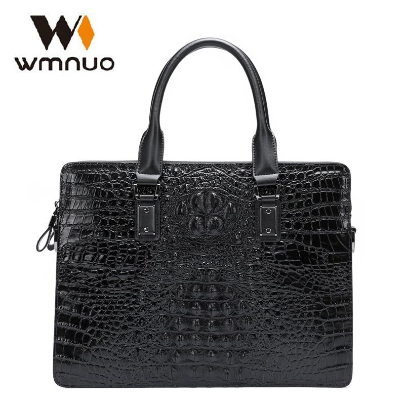 цена Wmnuo Men Briefcase Bag Handbag Crocodile Pattern Cow Leather Man Shoulder Messenger Computer Bag Men Crossbody Business Bag New