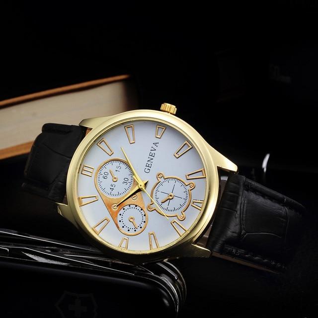 xiniu Geneva Watch Men Retro Design PU Leather Band Three Eyes Analog Alloy Quartz Wrist Watch Relogio masculino montre homme