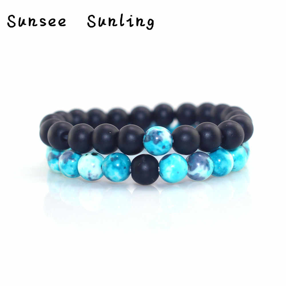 Retro Blue Beads Frosted Beads Combination Beaded Bracelet Men and Women Couple Bracelet Natural Stone Yoga Bracelet for Women