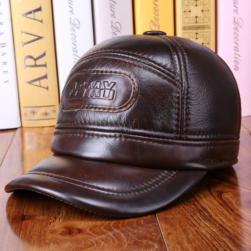 Old Man Cow Skin Winter Baseball Hats with Ear MuffsGenuine Leather Caps for Men  20170736 bfdadi big size 62cm 2017 faux leather baseball caps men winter hats with ear flaps men s warm hat