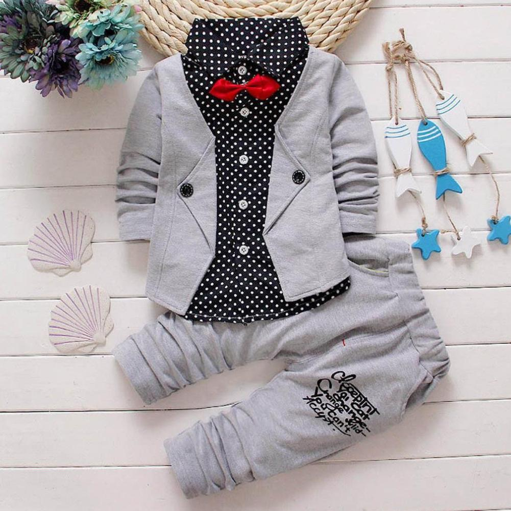2018 New Kids Baby Boys Spots Turn-down Collar Gentry Formal Party Bow Suit Clothes Set
