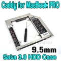 "2015 De Alumínio 9.5mm HDD caddy SATA 3.0 SSD para optibay sata caso gabinete para apple macbook pro unibody 13 ""15"" 17"""
