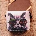 2016 Fashion Women Messenger Bags PU Leather Cat Wearing  Glasses Print Shoulder Handbags  Bag