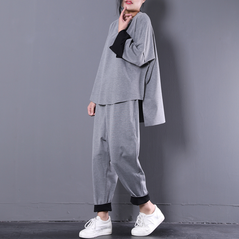 2018 female new spring and autumn plus size korean loose art cloth pocket irregular flash casual sports set