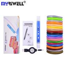 Myriwell 3D Ручка DIY 3D-принтеры печати ручка+ USB Мощность адаптер/100 м 1,75 мм ABS накаливания для малышей Рисунок Живопись