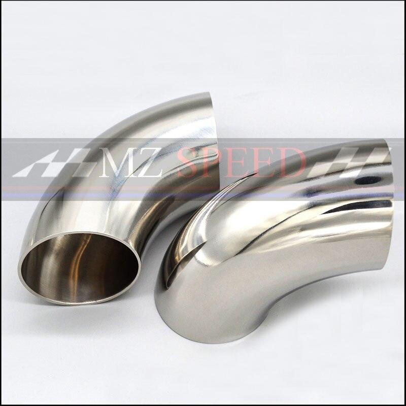 51mm 57mm 63mm 76mm OD sıhhi popo kaynak 90 derece dirsek viraj boru 304 paslanmaz çelik araba egzoz borusu susturucu kaynaklı boru