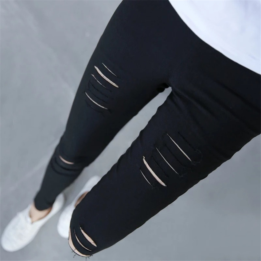 2019 Winter Women New Hole Pencil Pants Slim Was thin Pants Thin Ms.High Waist Pants Capris Slimming Waist trainer Long trousers