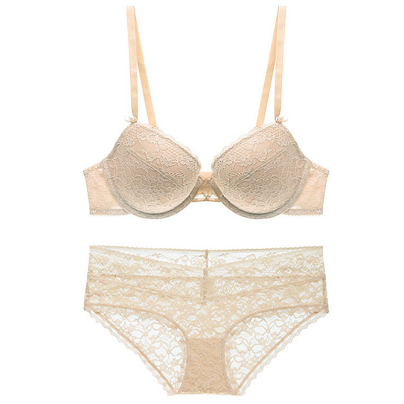 New Arrival Women Thin Cotton Cup Sexy Bra Embroidery Lace Lingerie Comfortable Breathable Underware Deep V Ladies Bra Set