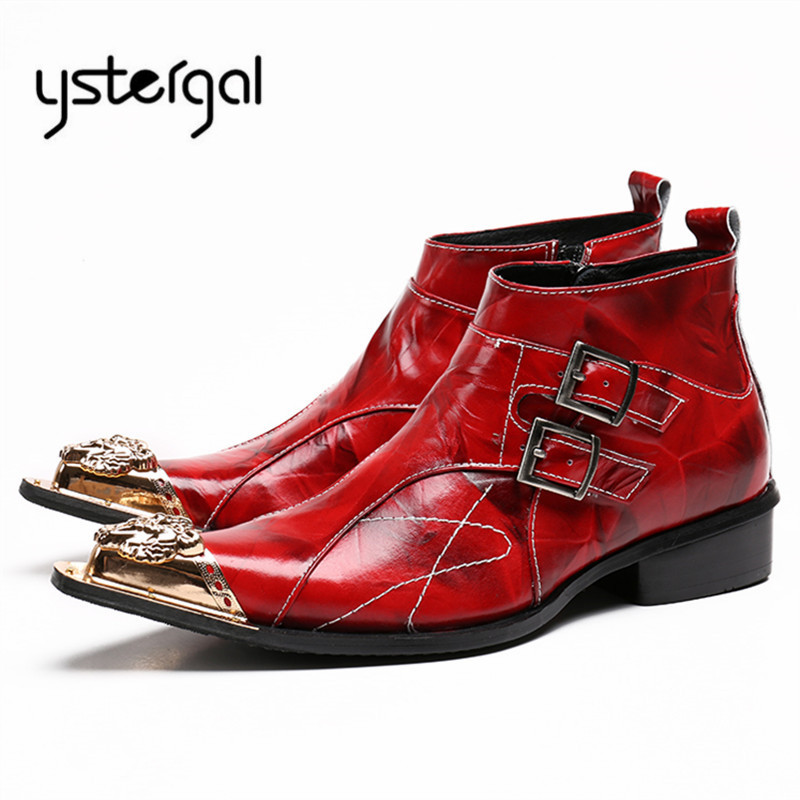 YSTERGAL Red Metal Pointed Toe Men Chelsea Boots Genuine Leather Buckles Botas Hombre Cowboy Military Boots Dress Shoes Flats british men ankle boots spring autumn pointed toe soft genuine leather botas hombre cowboy military booties wedding dress shoes