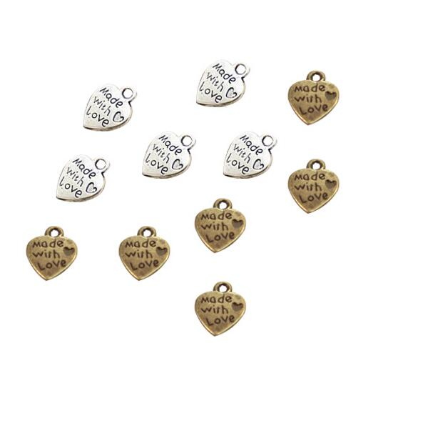 """Lot 10 Pendentifs Coeur Argenté /"""" made with love /"""" 12mm x 10mm Breloques Charms"""