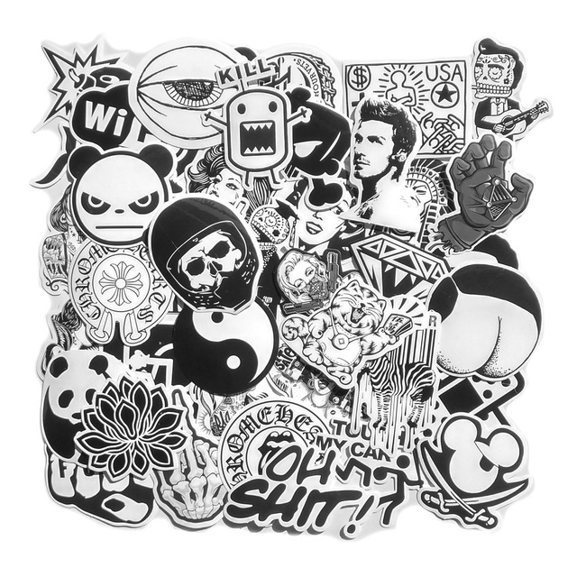 DIY Black and White Cool Laptop Stickers