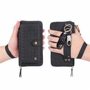 Image 3 - Padrão de Tecido De Couro multifuncional Com Zíper Carteira Senhora Caso Para iPhone 11 Pro Max Max XR XS X 7 6 8 6S Plus Mulheres Bolsa Da Bolsa