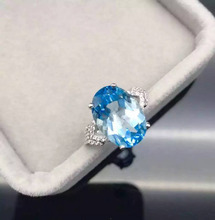 Natural blue topaz gem stone ring Natural gemstone ring S925 sterling silver ring trendy Elegant big round women gift Jewelry