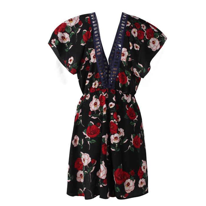 V шеи ПР дамы элегантное офисное платье линии Для женщин Мини Цветочный принт боховая Туника Пляжные наряды спинки Сексуальная Летнее женское платье