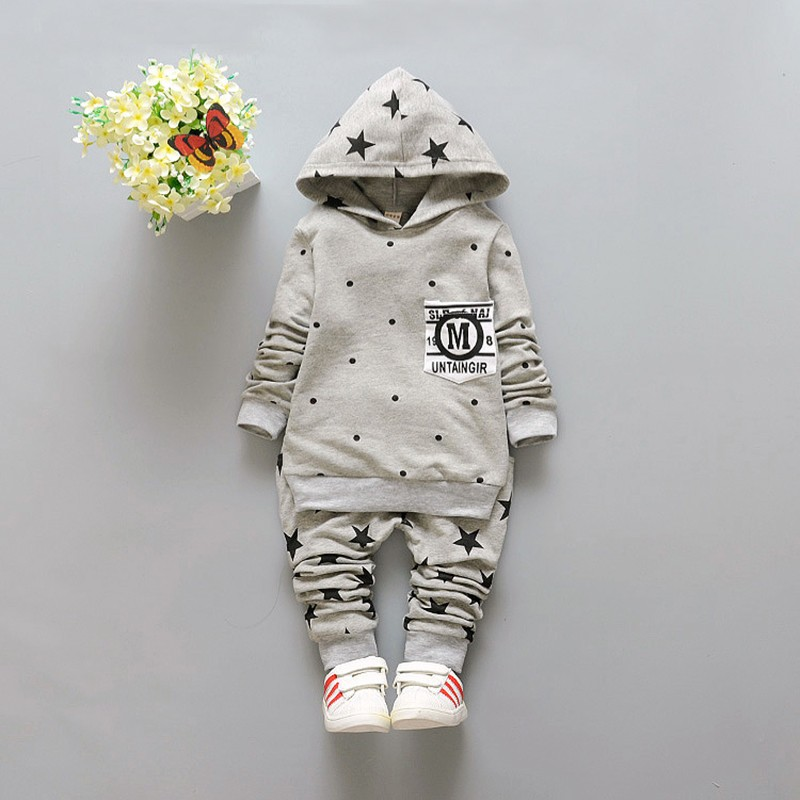 New Baby Sets Star Cotton Suits 2016 Infant Outerwear Spring Autumn Boys Clothes Pants Hooded Suit Hot Dot Tops Baby Clothing (9)