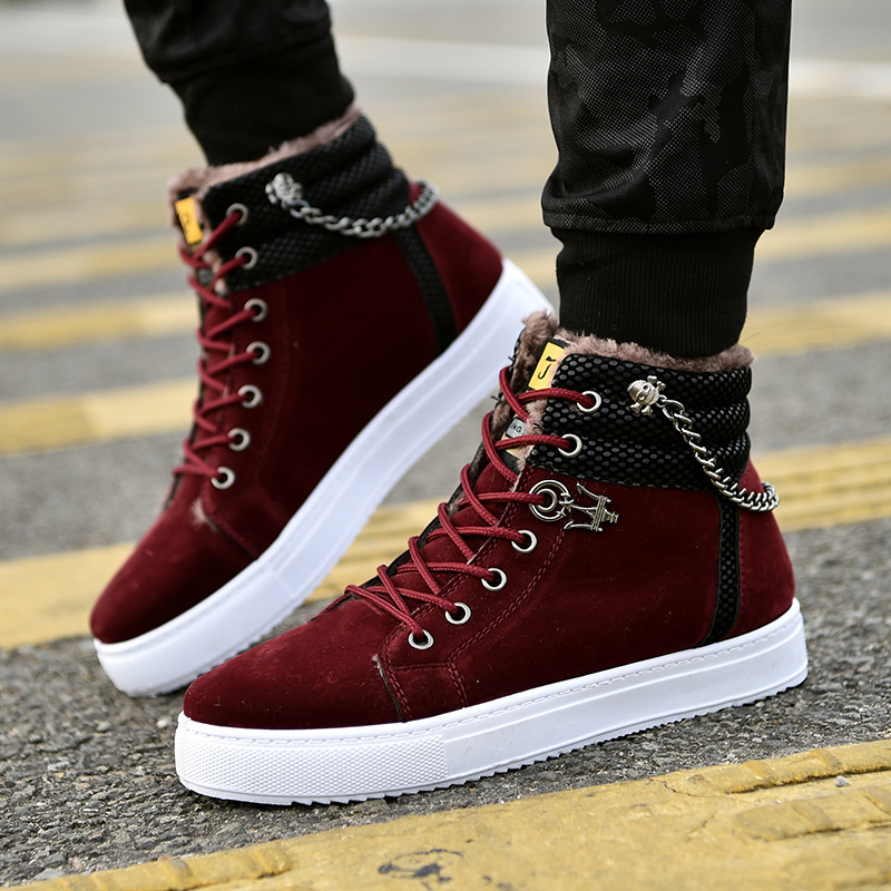 High Quality Men Vulcanized shoes New High Top Canvas Casual shoes Men Autumn Leather Sneakers Metal Chain Plus Size Male Flats 4