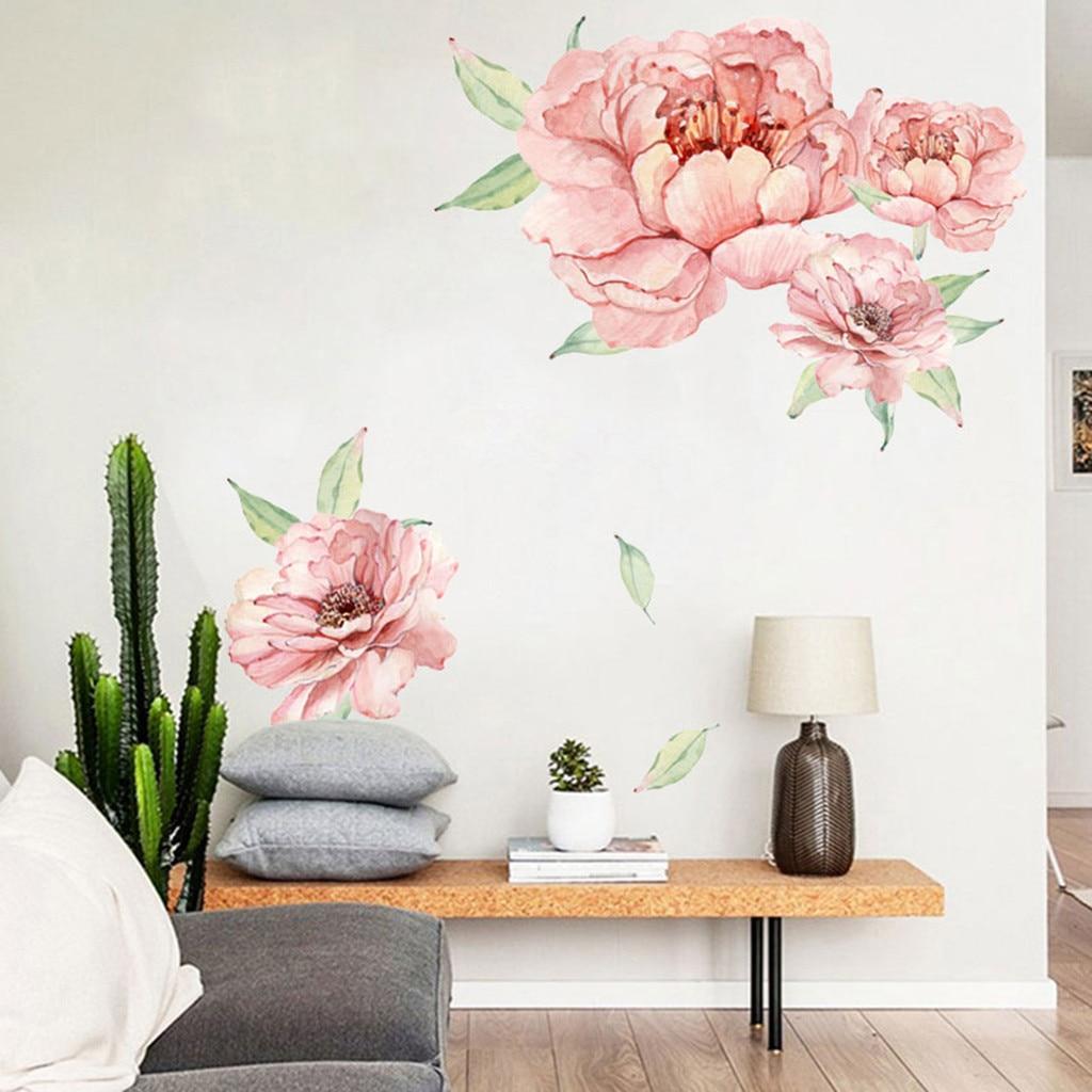 Peony Rose Flowers Wall Art Sticker Decals Kid Room Nursery Home Decor Gift
