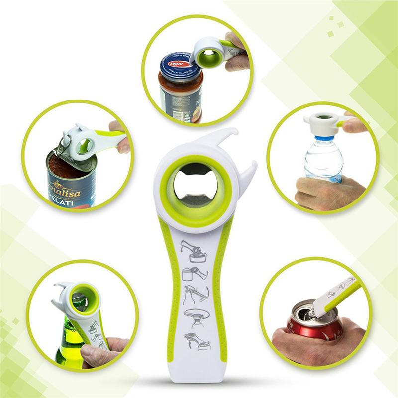Five-in-a-kind multi-function can opener portable non-slip stainless steel plastic energy can opener cans caps kitchen tools hot