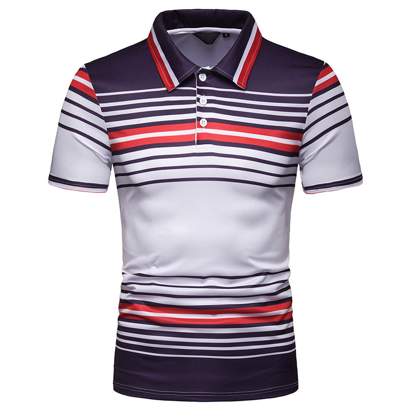 New   Polo   Shirt Men 2019 Summer Fashion Stripe Contrast Half Sleeve Tees Cotton Breathable Camisa   Polo   Stretch Casual   Polos