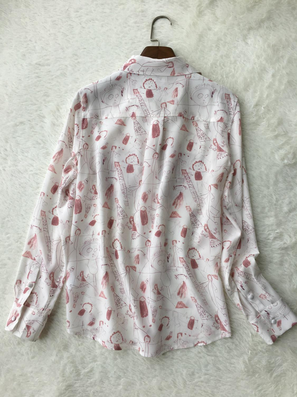 Soie femmes Blouse enfant Graffiti imprimer dames petit haut à manches longues col rabattu blouses et hauts chemises avec poches