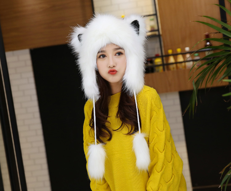 2017 Winter Faux Fox Fur Caps for Women Warm Bomber Hats with Ears Girls Novelty Cartoon Animals Party Caps Female Hats Gift 14